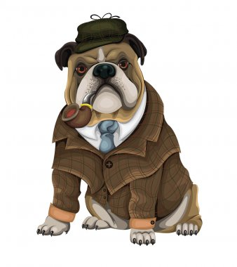 Bulldog Sherlock vector clip art vector