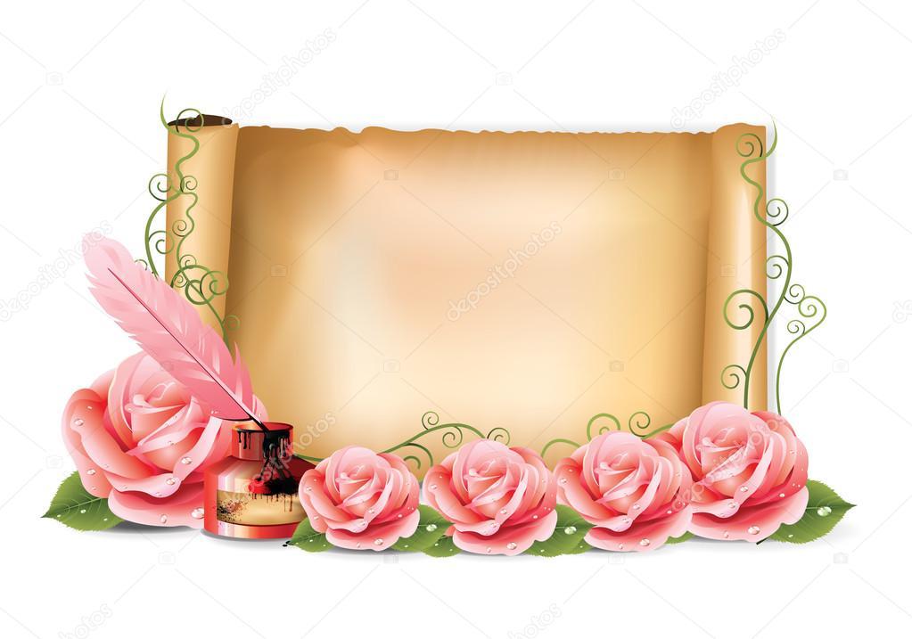 Pink Roses Paper Ink