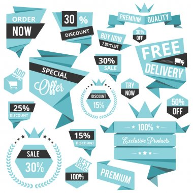 Stylish discount sale concept labels and stickers