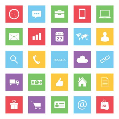 Set of Colorful Business Finance and Ecommerce Icons