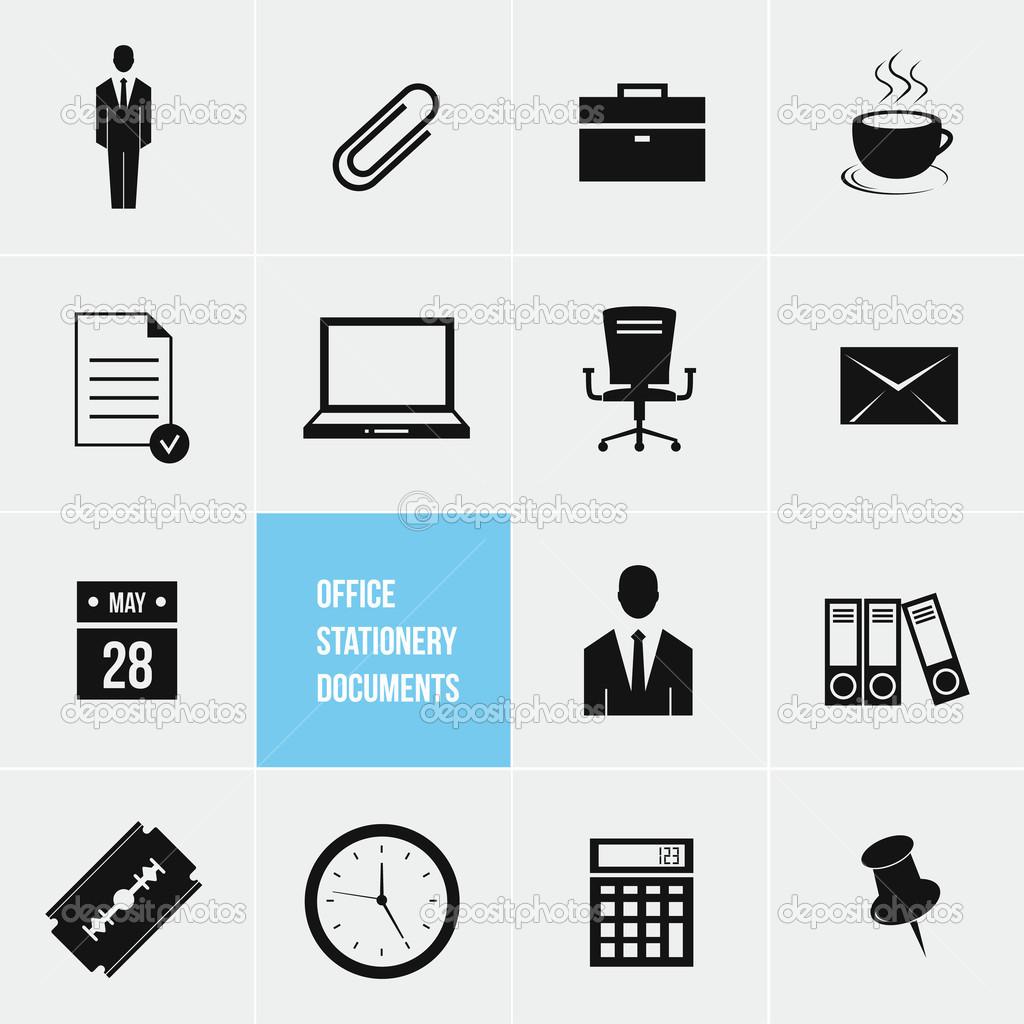 Documentos y material de oficina vector conjunto de iconos for Material de oficina precios