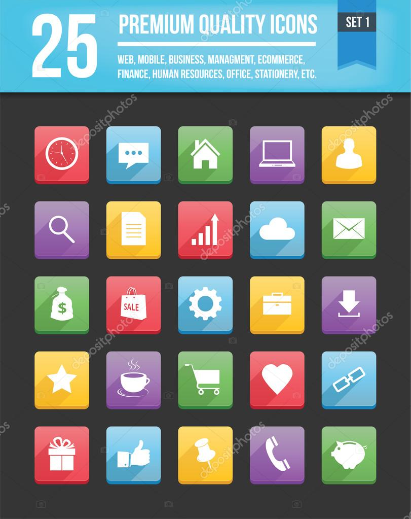 Modern Universal Vector Icons for Web and Mobile Set 1