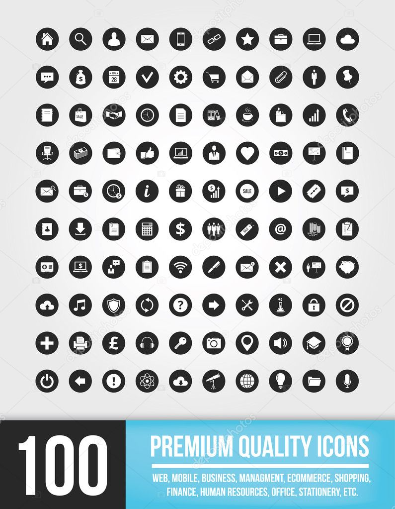 100 Universal Vector Icons for Mobile and Web