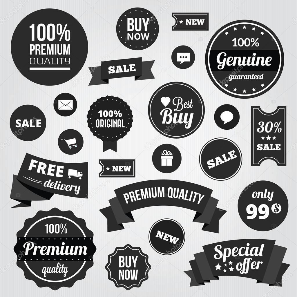 Black and White Vector Labels Badges Stickers and Ribbons