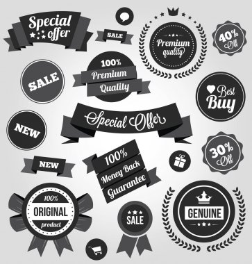 Black and White Vector Stickers Labels and Badges Set