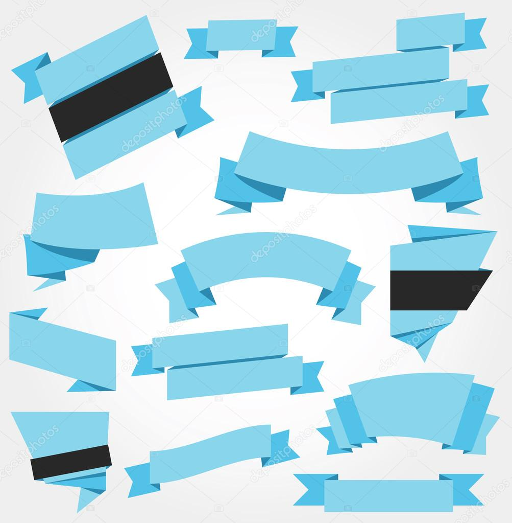 Vector Ribbons Set Blue