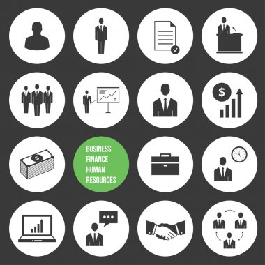 Vector Business Management and Human Resources Icons Set