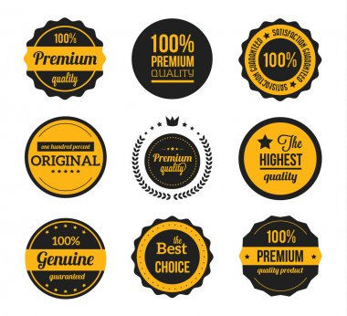 Vector Retro Vintage Badges and Labels Yellow