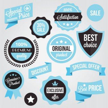 Vector Badges Stickers and Labels Set Blue