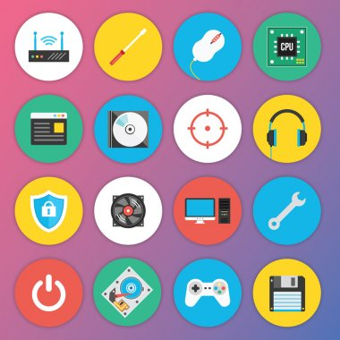 Trendy Premium Flat Icons for Web and Mobile Applications Set 7 Special Hardware Set