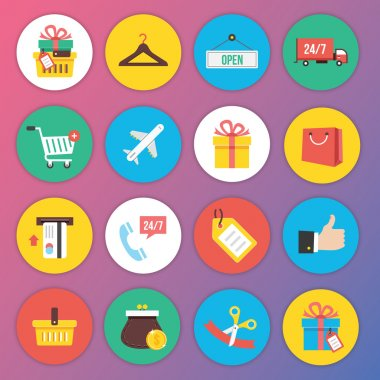 Trendy Premium Flat Icons for Web and Mobile Applications Set 8 Special Shopping Set