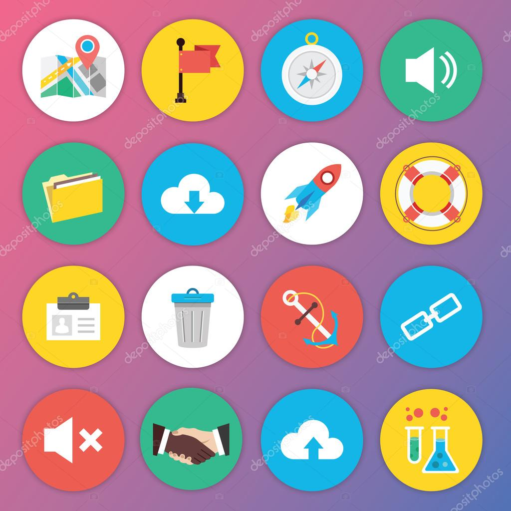 Trendy Premium Flat Icons for Web and Mobile Applications Set 6