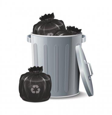 Iron Bin With Garbage Bag