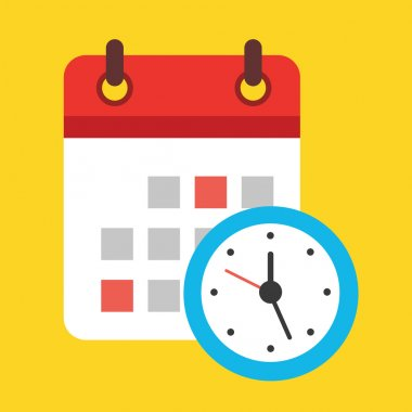 Vector Calendar and Clock Icon