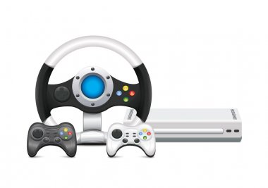 Game Console With Steering Wheel And Gamepad