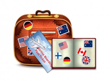 Passport, Airline Boarding Pass Ticket and Luggage