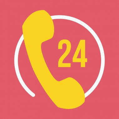Vector 24 Hours Customer Service Icon