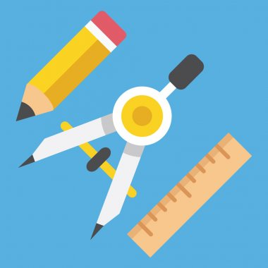 Vector Drawing Compass Pencil and Ruler Icon Web Design Concept