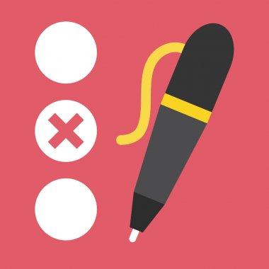 Vector Quiz and Pen Icon