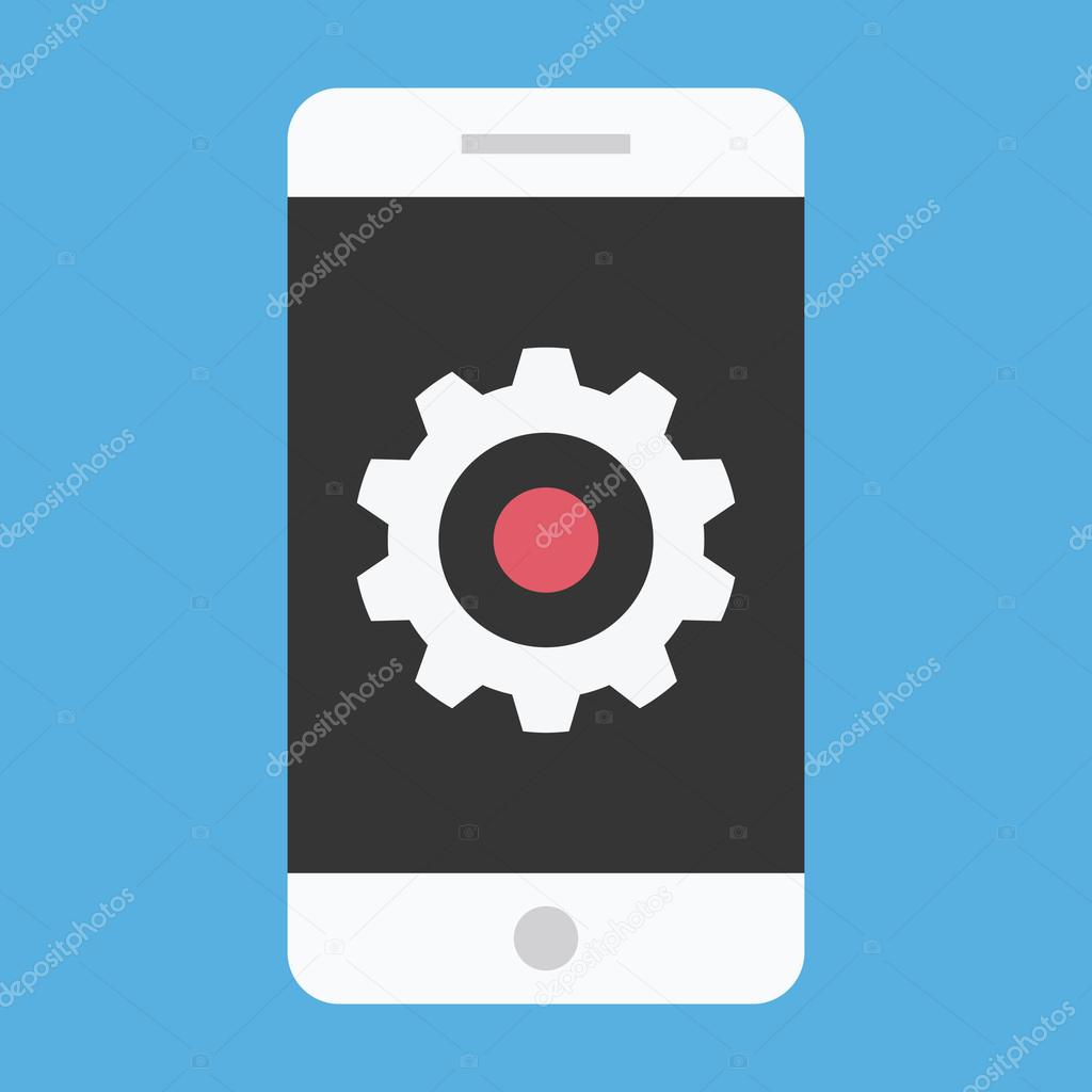 Vector Smartphone and Gear Icon Settings or Mobile Development Concept