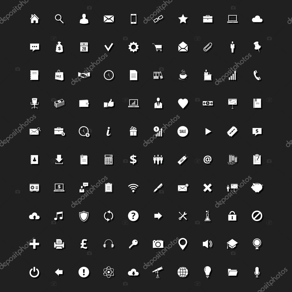 Set of 100 Stylish Universal Icons for Web and Mobile