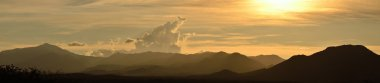 Panoramic view of the sunset over the mountains of Mexico.