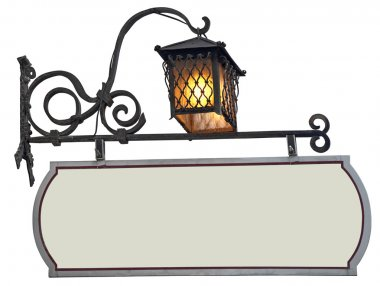 Signboard with lantern