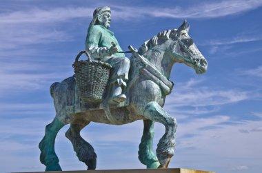 Monument of shrimp fisherman on horseback