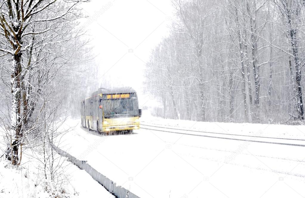 Bus on winter road