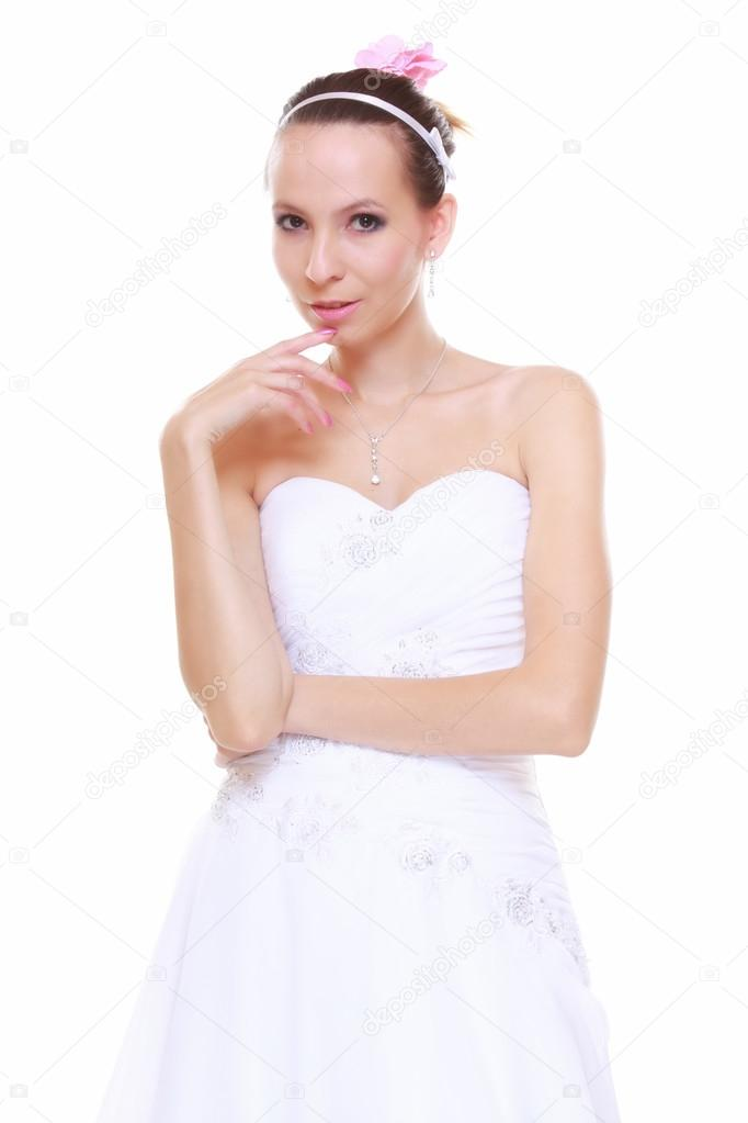 día de la boda. romántica novia vestida de blanco aislado — Foto de ...