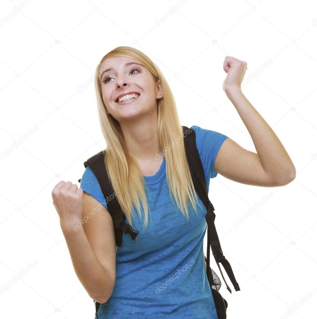 6b180aa43662 alkalmi boldog lány diáklány siker kéz jel mutatja táska — Stock ...