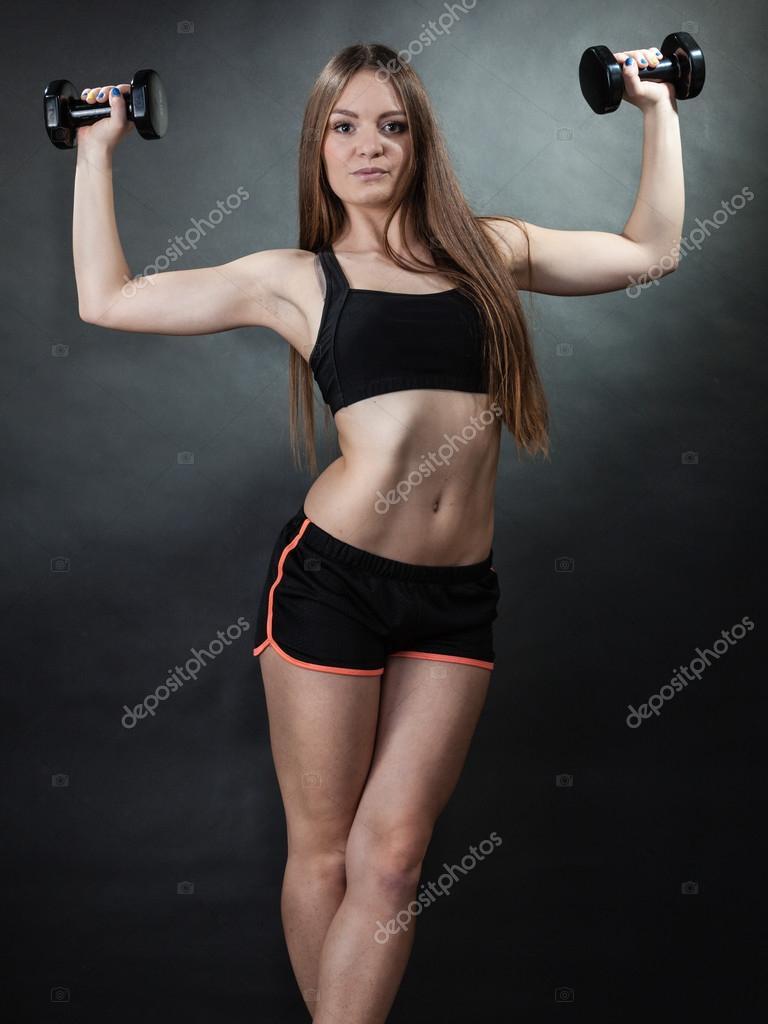 Fille Fitness Photo épaule de formation fille fitness muscles levage haltères