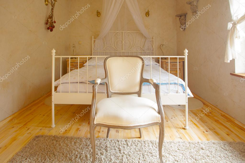 interior of nice bedroom in vintage rural style room with comfortable canopy double bed and retro chair design photo by voyagerix - Orange Canopy Interior