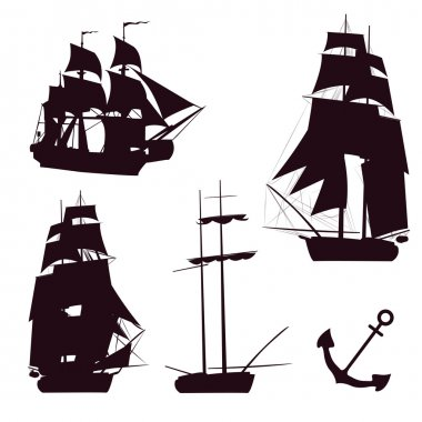 Vector set of beautiful brigantine silhouettes. Vector illustrations.