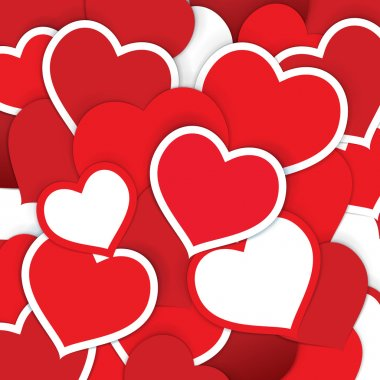 Red paper hearts background. Vector illustration for multiple purposes. clip art vector