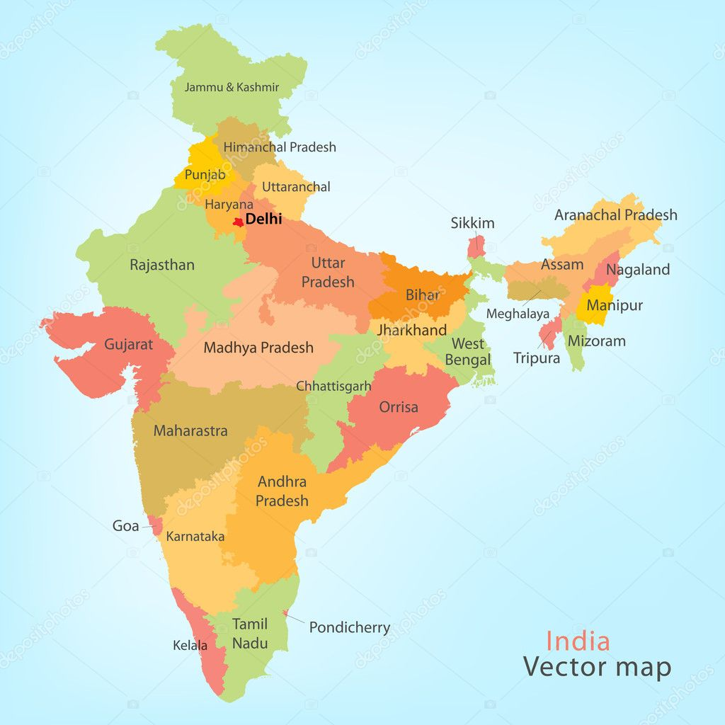 India Map U2014 Stock Vector