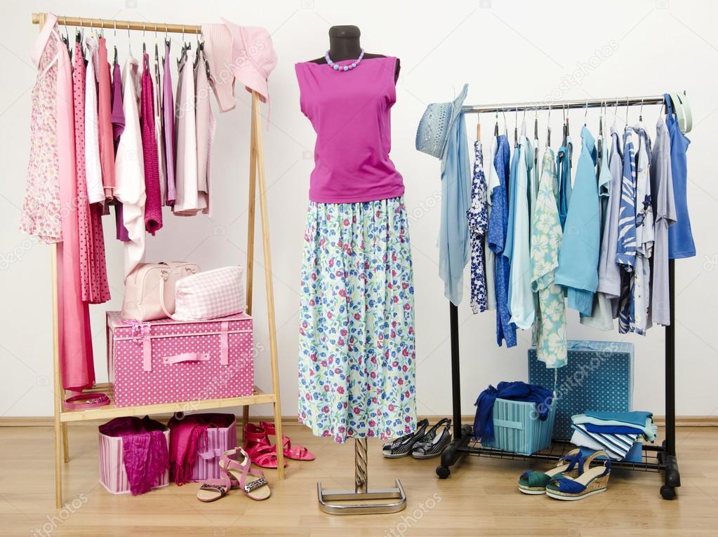 armario completo de todos los matices de azul y rosa ropa zapatos y accesorios u foto de luanateutzi