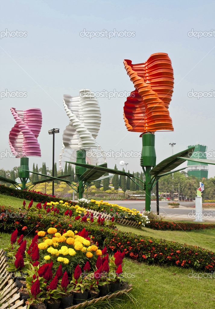 Vertical axis wind turbines in park — Stock Photo © toa55