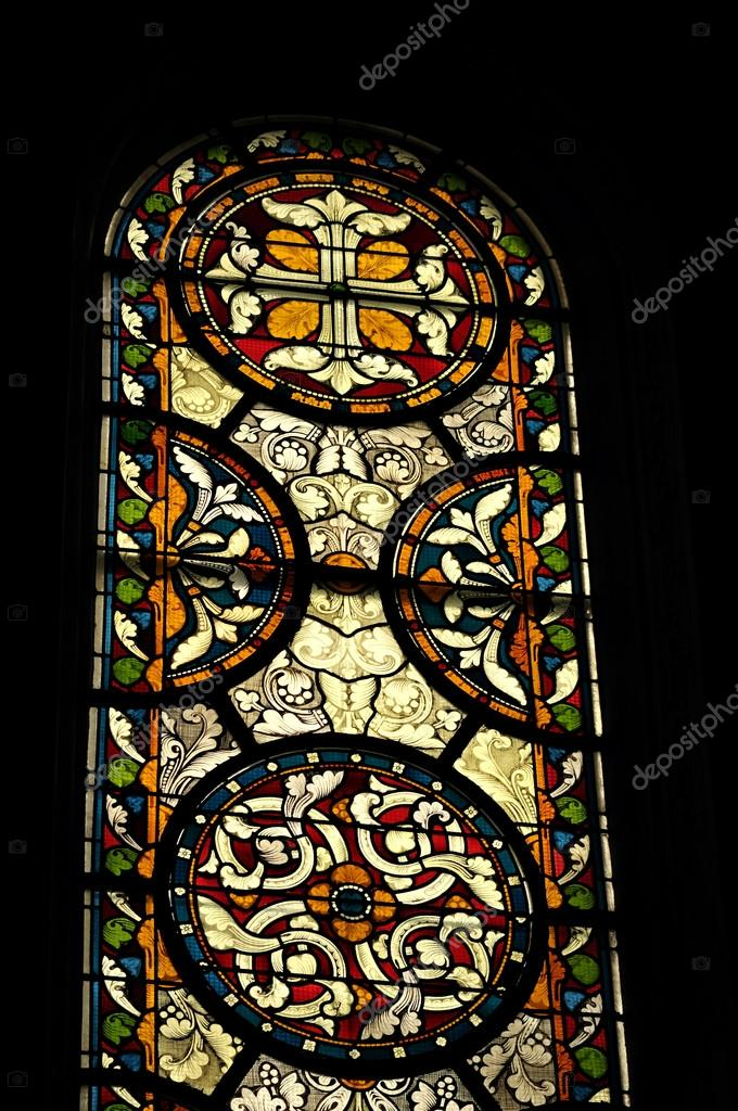 Medieval Stained Glass Window In Church Maastricht Netherlands Stock Photo