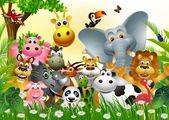 Photo Funny animal cartoon set