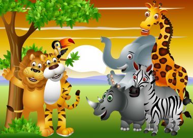 Wild African animal cartoon