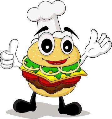 Funny cartoon chef burger