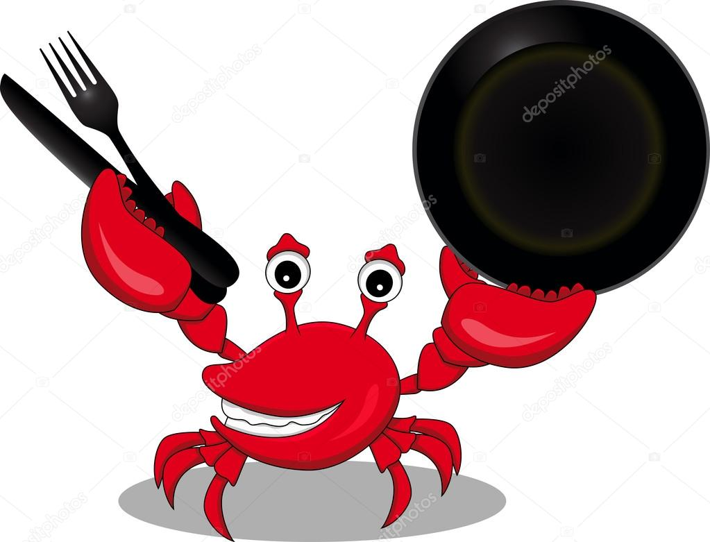 A Funny Cartoon Crabs With Fork,knife And Spoon