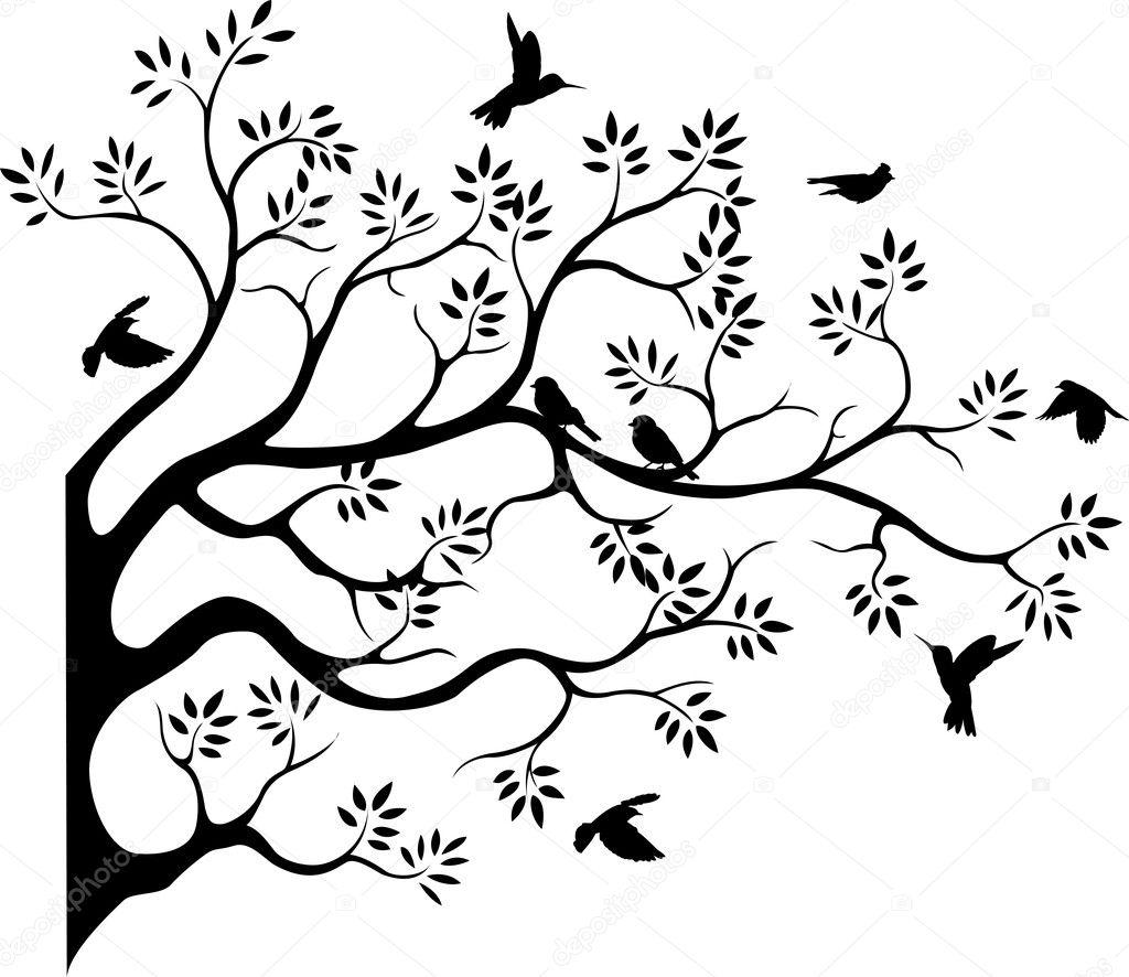 Silhouette d 39 arbre avec l 39 oiseau qui vole image vectorielle starlight789 12219429 - Jeux d oiseau qui vole ...
