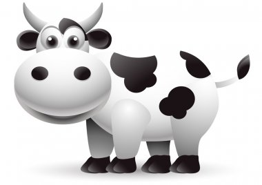 Funny cow cartoon isolated