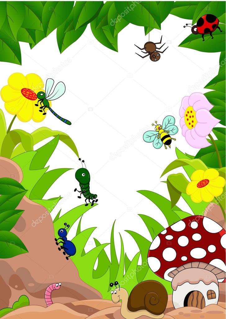 Dibujos animados de insectos y mashroom en el jard n for Jardin dibujo
