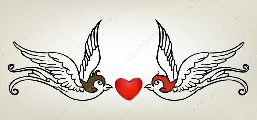 couple de tatouage hirondelle tribal avec amour image. Black Bedroom Furniture Sets. Home Design Ideas