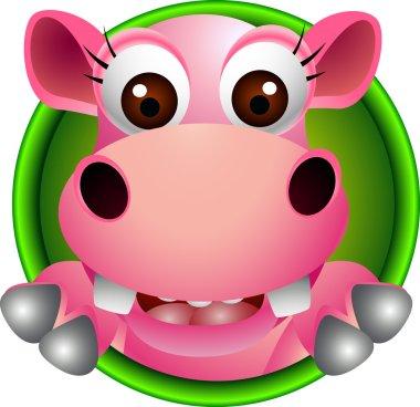 Cute baby hippo head cartoon
