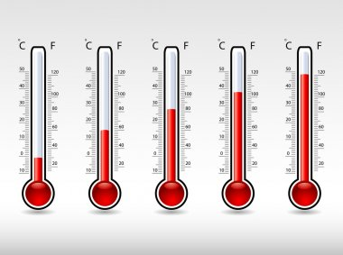 Vector illustration of thermometers at different levels clip art vector