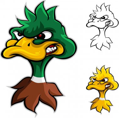 Angry duck head cartoon